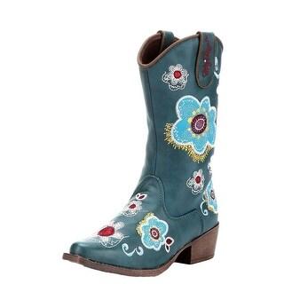 Blazin Roxx Western Boots Girls Sage Cowboy Kids Floral Turq