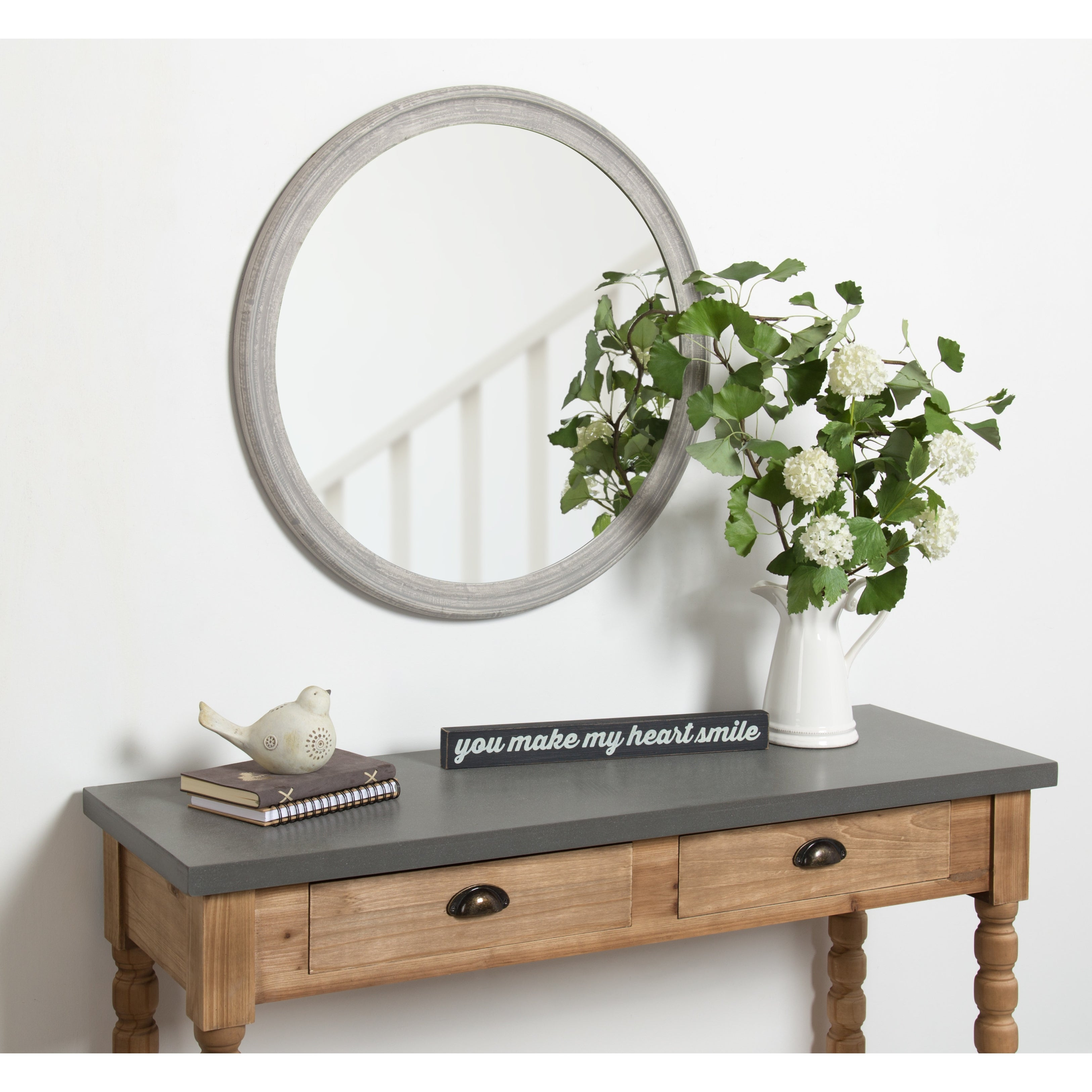 Shop Kate And Laurel Mansell Wood Framed Wall Mirror 28 Diameter Overstock 21497575