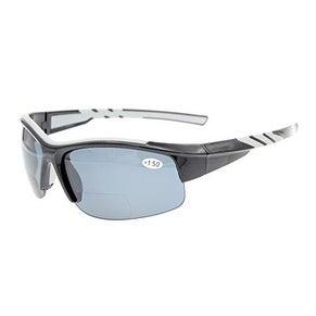 Eyekepper TR90 Sports Bifocal Half Rimless Sunglasses Black Frame Grey Lens +1.5