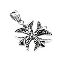 Stainless Steel Textured Patonce Cross Pendant (30 mm Width)