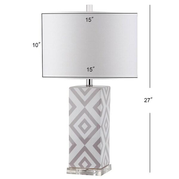"SAFAVIEH Lighting 27-inch Grey Diamonds Table Lamp (Set of 2) - 15""x15""x27"""