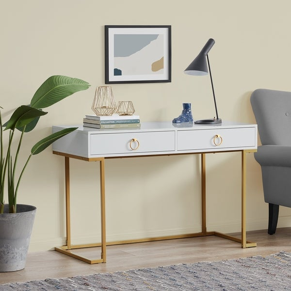 BELLEZE 2-Drawer Computer Desk Table, Wood & Metal, White & Gold. Opens flyout.
