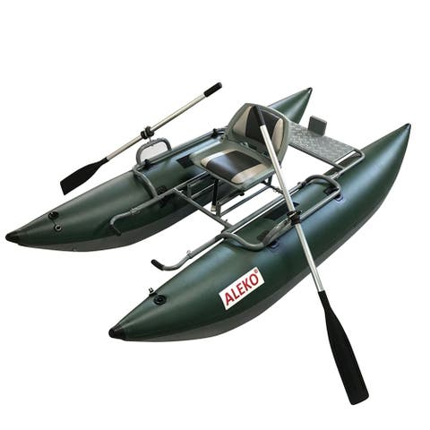ALEKO Inflatable Personal Fishing 10 ft Pontoon Boat with Swivel Seat Green