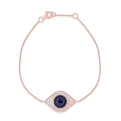 Sapphire & Diamond Evil Eye Bracelet 14K Rose Gold by Joelle Collection