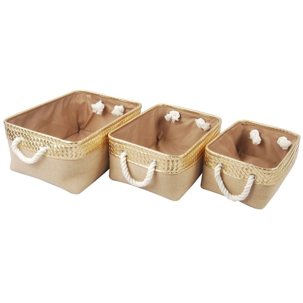 """Set of 3 Brown and Gold Alcott Nested Baskets 16"""" - N/A"""