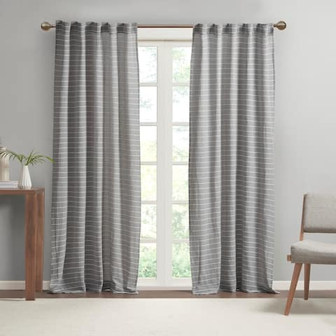 """Cashel Texture Striped 100-percent Recycled Fiber Woven Antimicrobial Window Panel Pair by Clean Spaces - 84"""" Panel"""