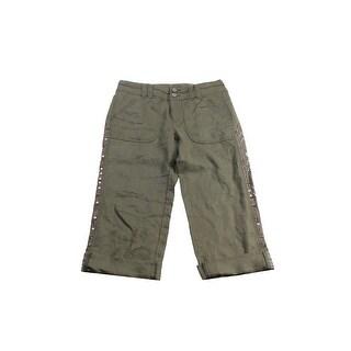 Inc International Concepts Olive Linen Embellished Cargo Pants - 6