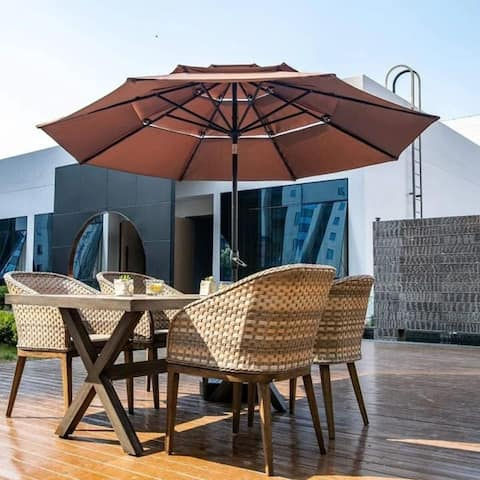Zenova 10Ft 3 Tiers beach umbrellas, sun tents, orain shelters Without Base