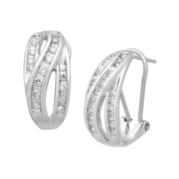 1/2 ct Diamond Hoop Earrings in 14K White Gold