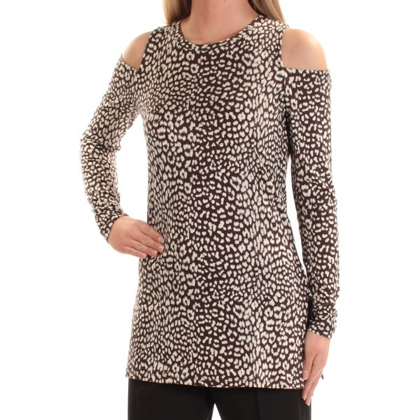 f2273b07f594b2 Shop MICHAEL KORS Womens Brown Cold Shoulder Animal Print Long Sleeve Jewel Neck  Top Size  XS - Free Shipping On Orders Over  45 - Overstock - 22644268