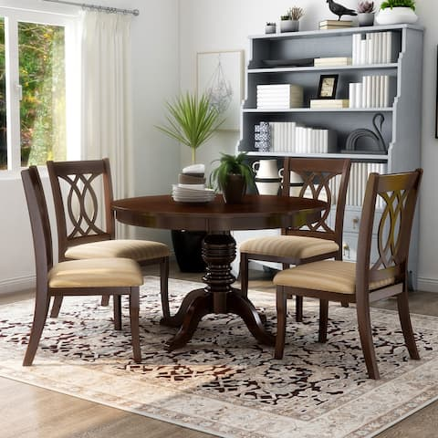 Furniture of America Wole Country Cherry Solid Wood 5-piece Dining Set
