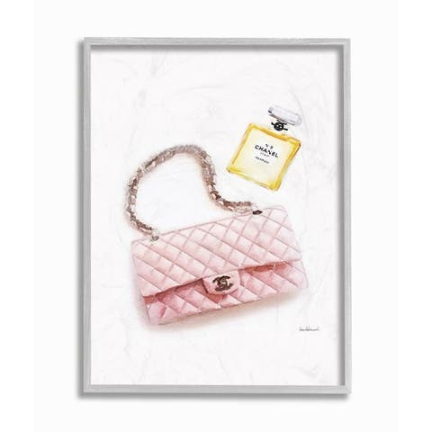 Stupell Industries Pink Purse Gold Perfume Glam Fashion Watercolor Design Framed Wall Art