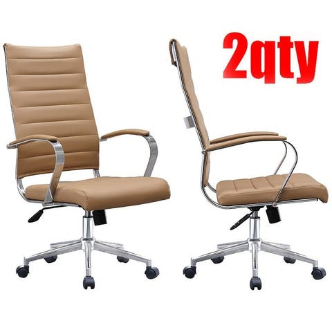 Set of Two (2) Modern Tan High Back Office Chair Ribbed PU Leather Swivel Tilt Computer Desk Cushion Seat Boss