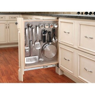 "Rev-A-Shelf 434-BF-3SS 434 Series 3"" Base Filler Pull Out Organizer with Stainless Steel Panel"