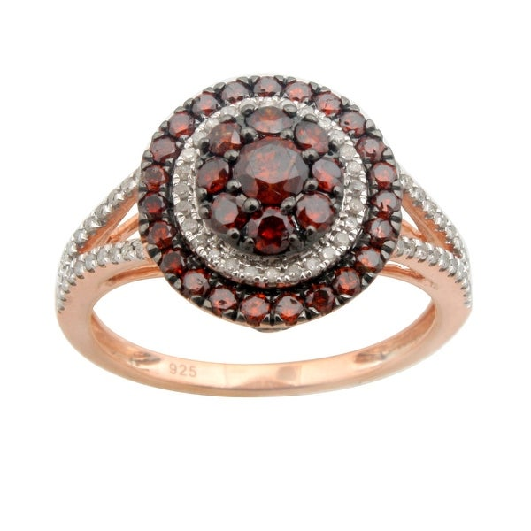 Prism Jewel 0.25 Carat Cognac Diamond Rose Gold Plated Cluster Ring Sterling Silver