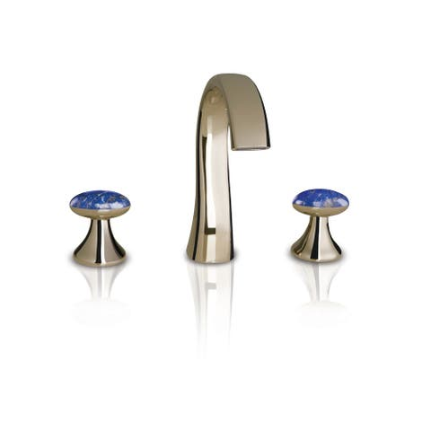 Altmans Limited Widespread Lavatory Set Lapis Lazuli Polished Nickel