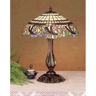 Meyda Tiffany 38516 Stained Glass / Tiffany Table Lamp from the Handel Grapevine Collection