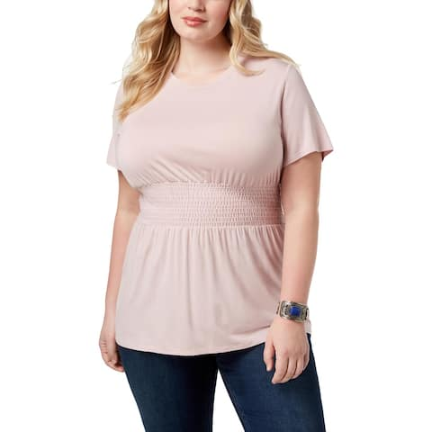 Soprano Womens Plus Casual Top Pleated Smocked-Waist