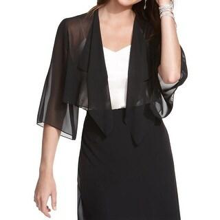 Alex Evenings Womens Cardigan Top Sheer Elbow Sleeves