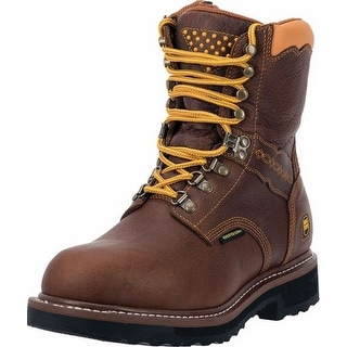 "Dan Post Work Boots Mens 8"" Scorpion Lace Zipper WP Brown DP68404"