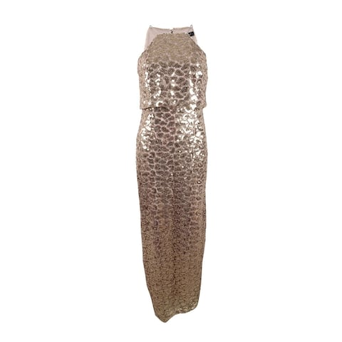 Aidan Mattox Women's Sequined Lace Gown (2, Gold)
