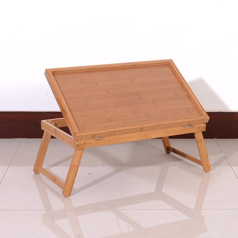 Adjustable Bamboo Foldable Breakfast, Laptop Desk, Bed Table, Serving Tray