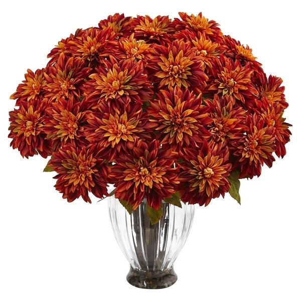 Nearly Natural Silk Dahlia Floral Arrangement