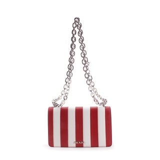 Prada Striped Saffiano Leather Chain Strap Shoulder Handbag - Red - S