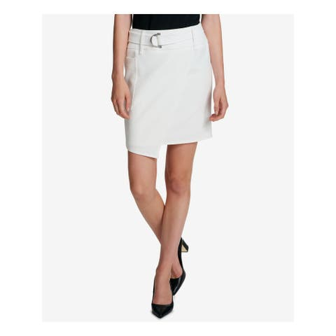 DKNY Womens Ivory Belted Mini Faux Wrap Skirt Size 8