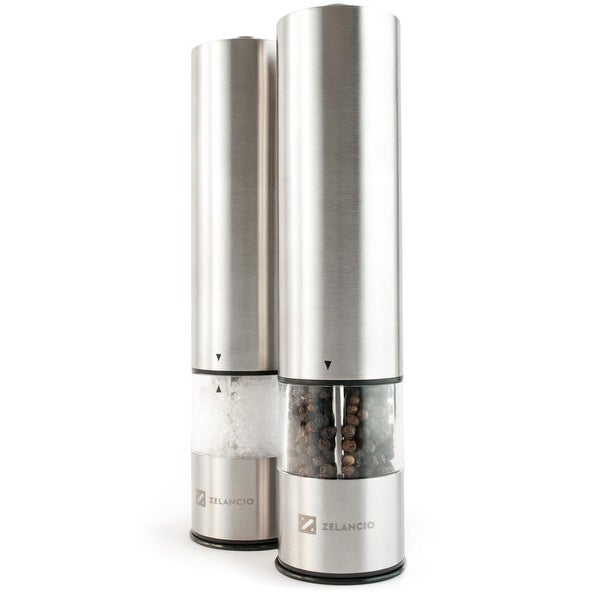 Zelancio Electric Salt and Pepper or Spice Grinder Set | Battery Powered One Touch Grind|Set of 2 Mills