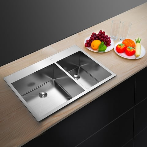33 Inch Drop-in Stainless Steel Double Basin Kitchen Sink