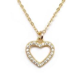 Julieta Jewelry Heart Outline CZ Charm Necklace