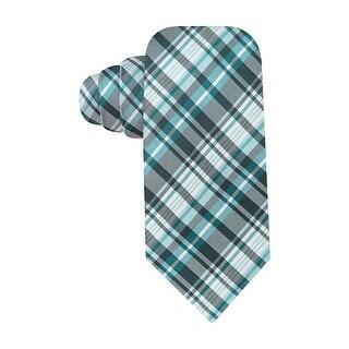 Alfani Spectrum Tortola Plaid Classic Necktie Aqua Blue Tie