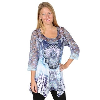 Women's Tunic Top - Lace 3/4 Sleeve Exotic Print Shirt