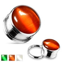 Colored Cats Eye Stone Surgical Steel Screw Fit Plug (Sold Individually)