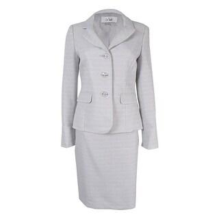 Le Suit Women's Tweed Skirt Suit - Sterling