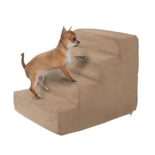High Density Foam Pet Stairs 4 Steps with Machine Washable, Tan