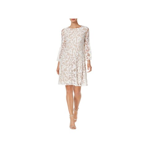 Jessica Howard Womens Petites Party Dress Lace Bell Sleeves