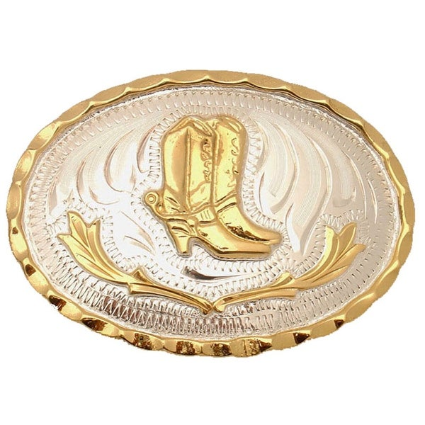 German Silver Tone and Gold Tone Belt Buckle with Cowboy Boots Detail - One size