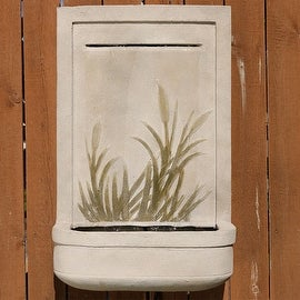 Sunnydaze 24 Inch Modern Cattail Outdoor Wall Fountain