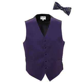 Lapis Purple Tuxedo Vest with Patterned Silk Tie Yourself Bow Tie
