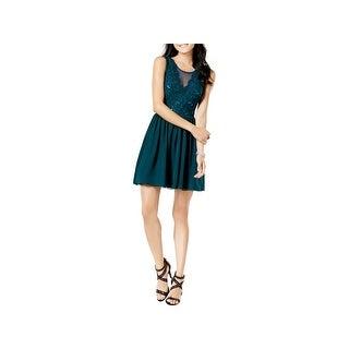 Speechless Womens Juniors Cocktail Dress Lace Sleeveless