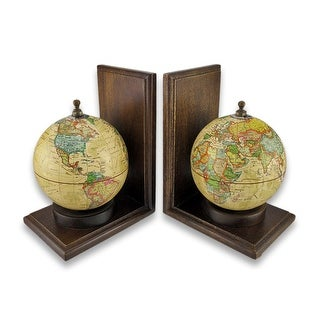 Contemporary Rotating Globe Bookends - Off-white