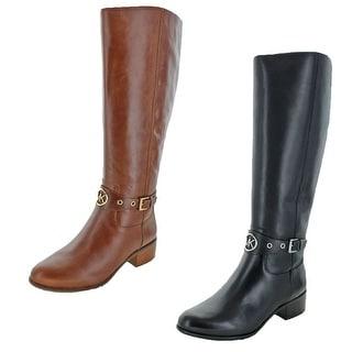 MICHAEL Michael Kors Women's Heather Leather Harness Block Heel Knee-High Boots