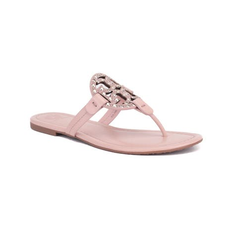 TORY BURCH Women's Leather Miller Embellished Sandal Shoes Pink