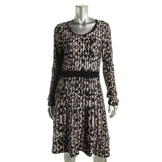 Calvin Klein Womens Textured Striped Sweaterdress