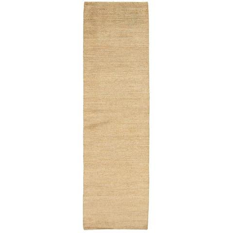 ECARPETGALLERY Hand-knotted Pak Finest Gabbeh Khaki Wool Rug - 2'8 x 10'9