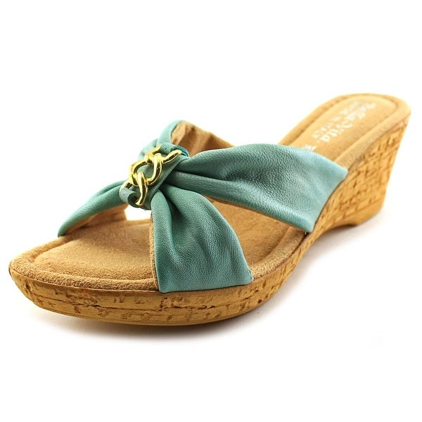 Bella Vita Aquila Women Open Toe Leather Blue Wedge Sandal
