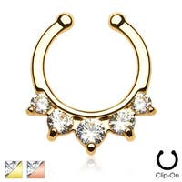 Five Paved Gem Gold IP Non-Piercing Septum Hanger (Sold Individually)