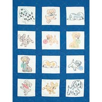 """Stamped White Nursery Quilt Blocks 9""""X9"""" 12/Pkg-Puppies"""